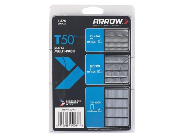 Thumbnail image of Arrow T50 Staples Multi Pack 6mm  10mm & 12mm Box 1875 (3 x 625)
