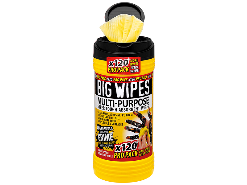 Thumbnail image of Big Wipes 4x4 Multi-Purpose Cleaning Wipes (Tub 120)