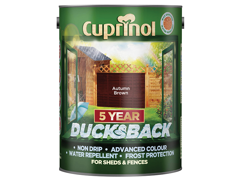 Thumbnail image of Cuprinol Ducksback 5 Year Waterproof for Sheds & Fences Autumn Brown 5 litre