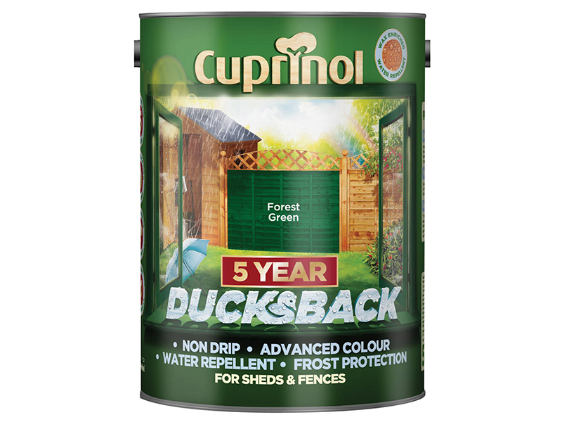 Thumbnail image of Cuprinol Ducksback 5 Year Waterproof for Sheds & Fences Forest Green 5 litre