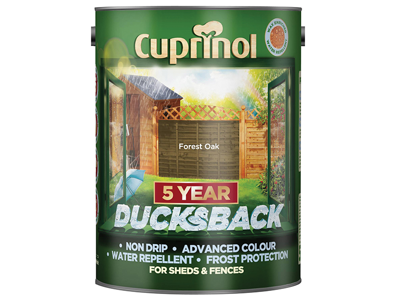 Thumbnail image of Cuprinol Ducksback 5 Year Waterproof for Sheds & Fences Forest Oak 5 litre
