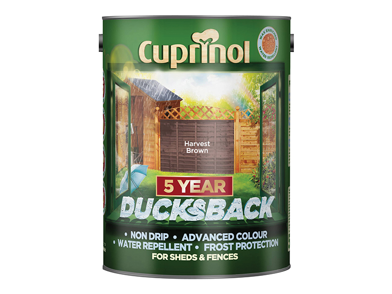Thumbnail image of Cuprinol Ducksback 5 Year Waterproof for Sheds & Fences Harvest Brown 5 litre