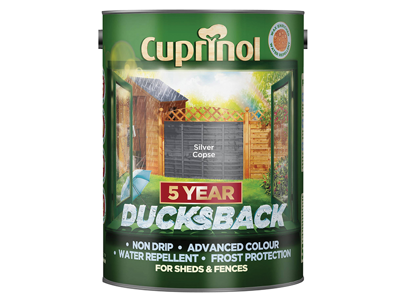 Thumbnail image of Cuprinol Ducksback 5 Year Waterproof for Sheds & Fences Silver Copse 5 litre