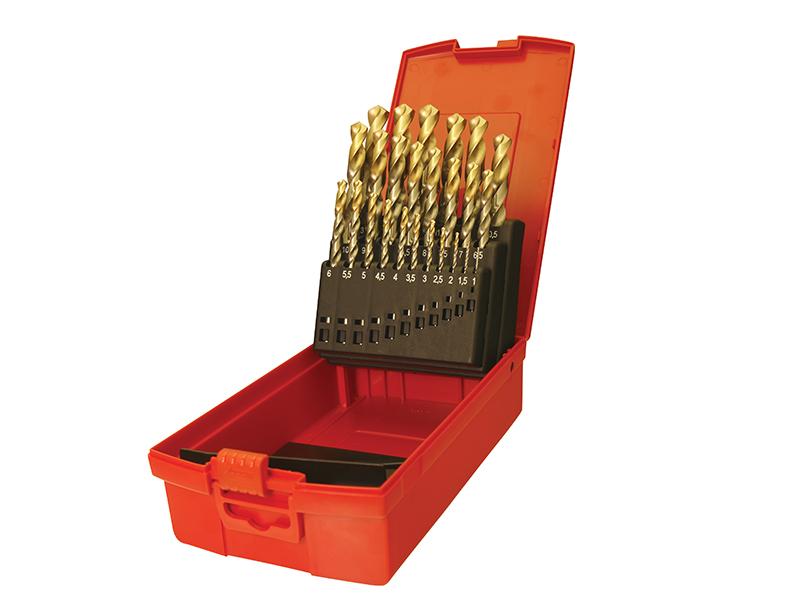Thumbnail image of HSS - TiN Coated Jobber Drills, Metric Set of 25 1.0-13.0 x 0.5mm