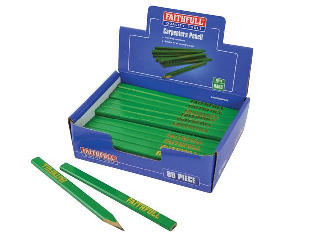 Thumbnail image of Faithfull Carpenter's Pencils - Green / Hard (Display 80)