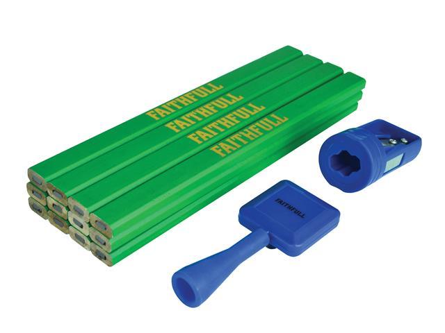 Thumbnail image of Faithfull Carpenter's Pencil Kit Green / Hard (Pack 12)