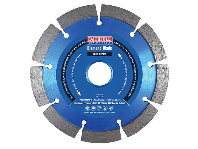 Thumbnail image of Faithfull Mortar Raking Diamond Blade 115 x 22mm