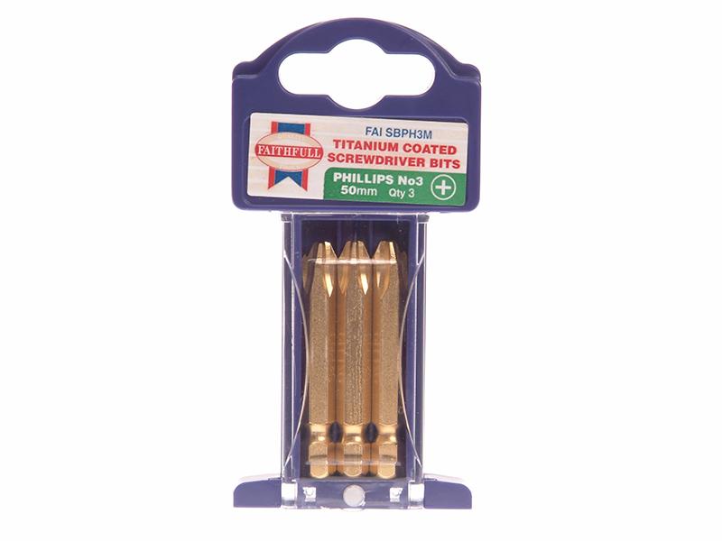 Thumbnail image of Faithfull Phillips Titanium Coated Screwdriver Bits PH3 x 50mm (Pack 3)