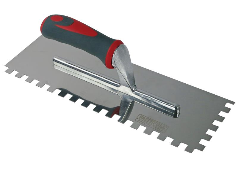 Thumbnail image of Faithfull Notched Trowel Serrated 10mm Stainless Steel Soft Grip Handle 13 x 4.1/2in