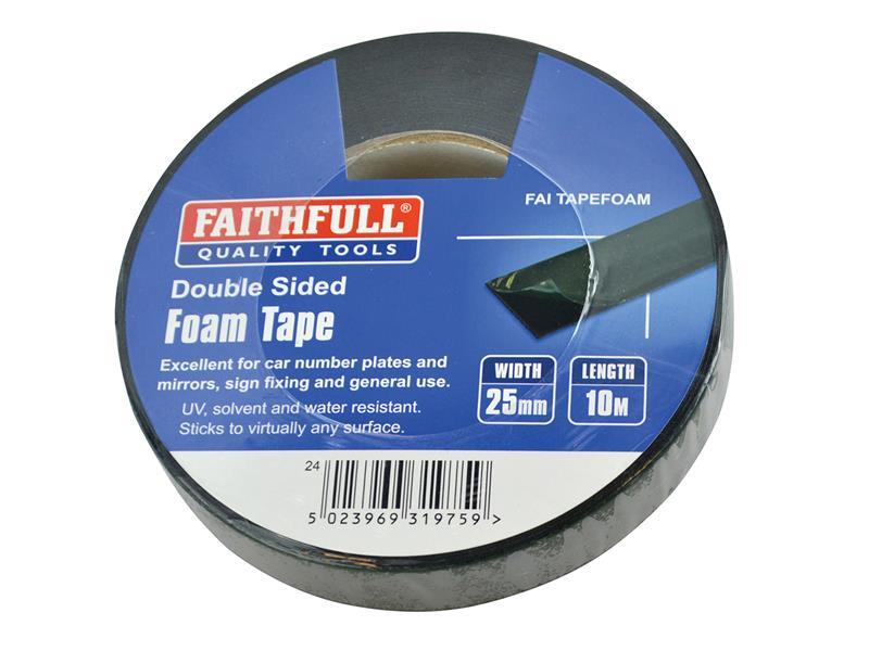 Thumbnail image of Faithfull Double-Sided Foam Tape Black 25mm x 10m