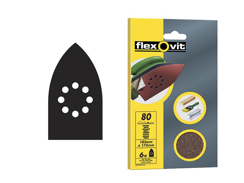 Thumbnail image of Flexovit Detail Hook & Loop Sanding Sheets 105x175mm Fine 120G (Pack 6)