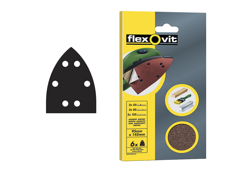 Thumbnail image of Flexovit Detail Hook & Loop Sanding Sheets 95x145mm Coarse 50G (Pack 6)