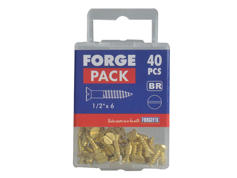 Thumbnail image of ForgeFix Wood Screw Slotted CSK Brass 1/2in x 6 Forge Pack 40