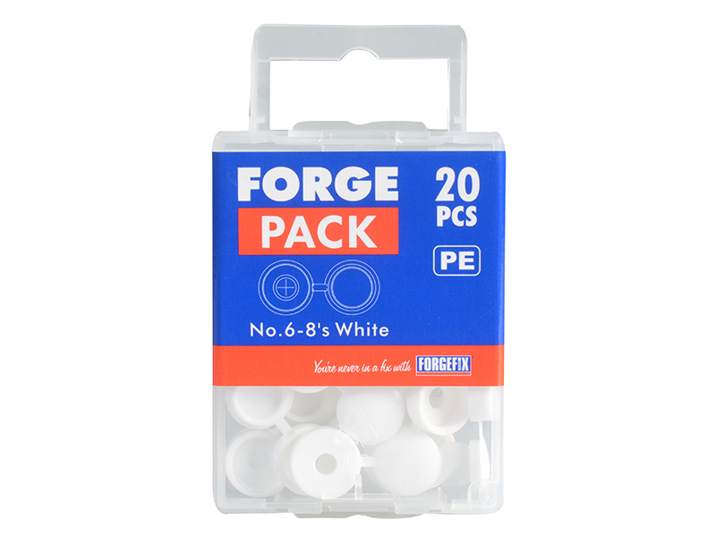 Thumbnail image of ForgeFix Hinged Cover Cap White No. 6-8 Bag 100