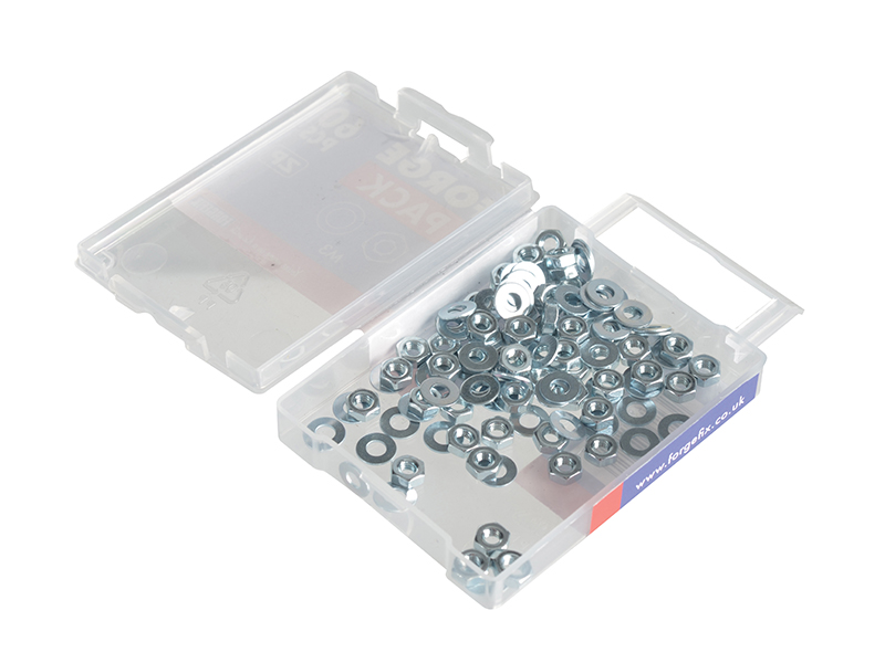 Thumbnail image of ForgeFix Hexagonal Nuts & Washers ZP M3 ForgePack 60