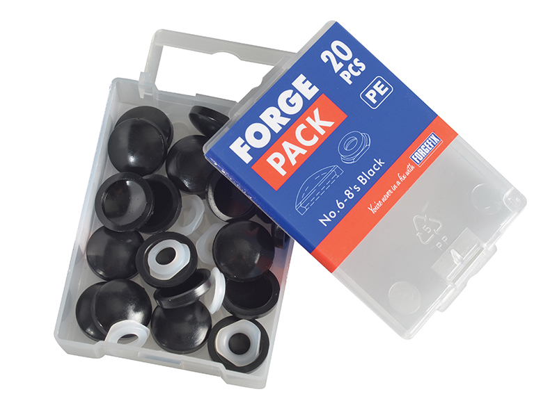 Thumbnail image of ForgeFix Domed Cover Cap Black No. 6-8 Forge Pack 20