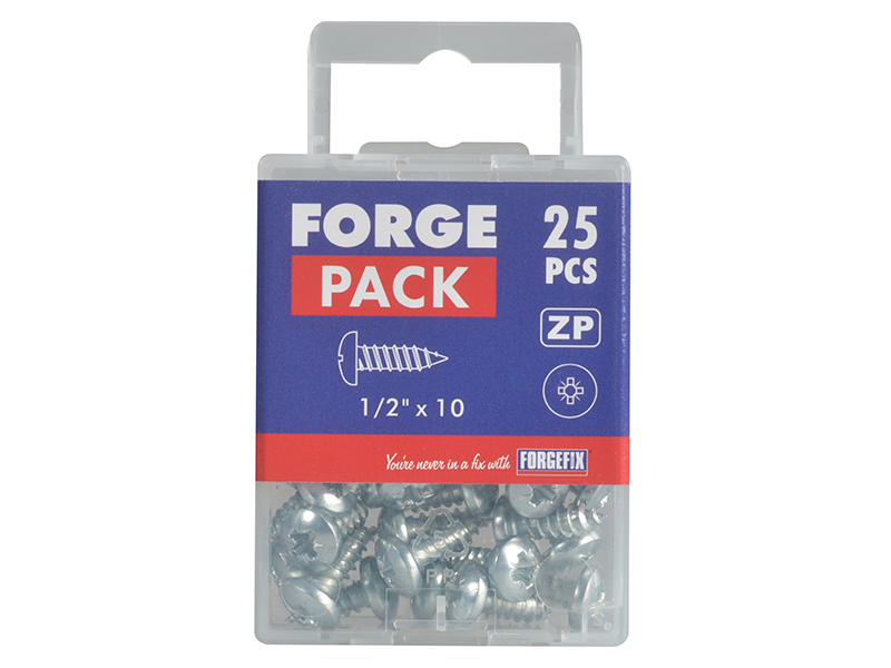 Thumbnail image of ForgeFix Self-Tapping Screw Pozi Compatible Pan Head ZP 1/2in x 10 ForgePack 25
