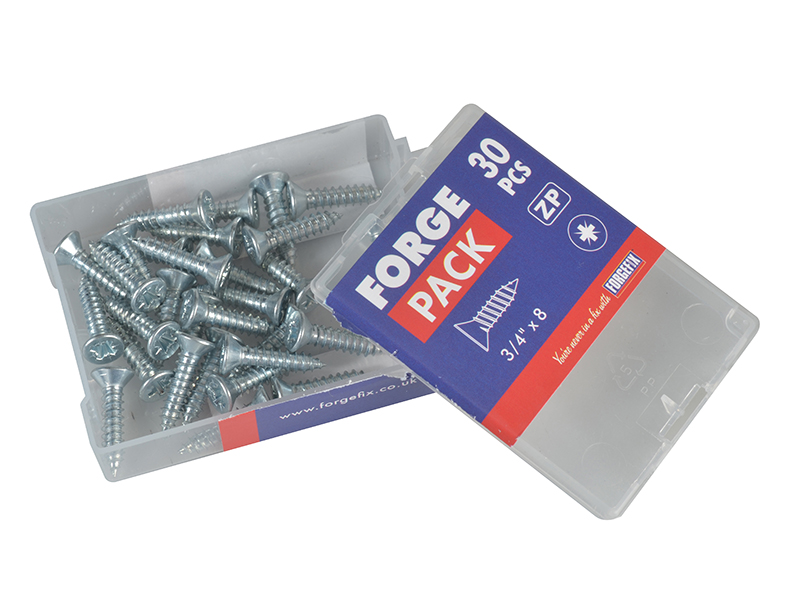 Thumbnail image of ForgeFix Self-Tapping Screw Pozi Compatible CSK ZP 3/4in x 8 ForgePack 30