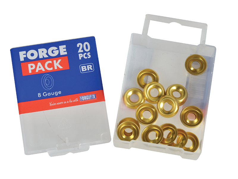 Thumbnail image of ForgeFix Screw Cup Washers Brass No.8 Forge Pack 20