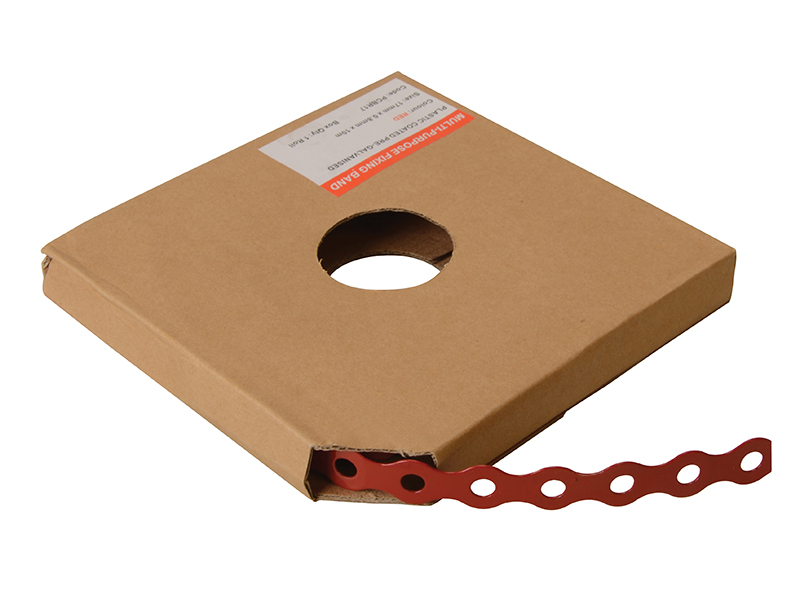 Thumbnail image of ForgeFix Red Plastic Coated Pre-Galvanised Band 12mm x 0.8 x 10m Box 1