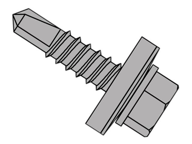 Thumbnail image of ForgeFix TechFast Self-Drilling Stitching Hex Screw & Washer No.1 Tip 6.3 x 22mm Box 100