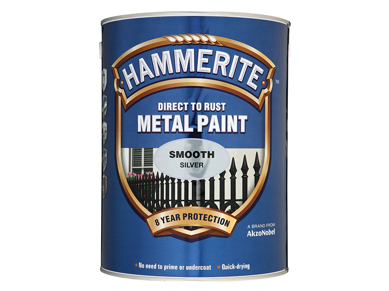 Thumbnail image of Hammerite Direct to Rust Smooth Finish Metal Paint Silver 5 Litre