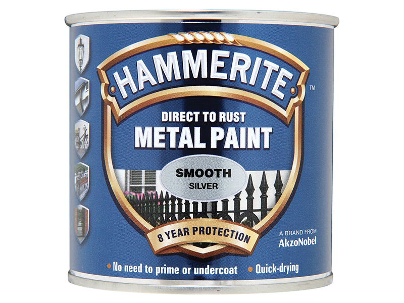 Thumbnail image of Hammerite Direct to Rust Smooth Finish Metal Paint Silver 750ml