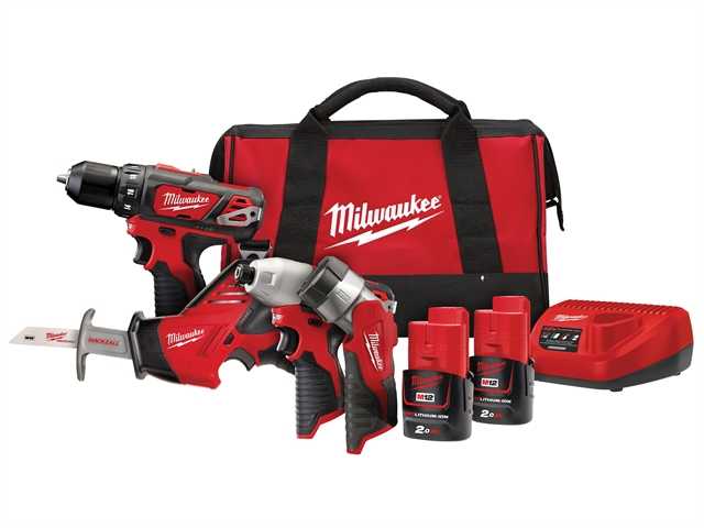 Thumbnail image of Milwaukee Power Tools M12 BPP4A-202C 4 Piece Kit 12V 2 x 2.0Ah Li-ion
