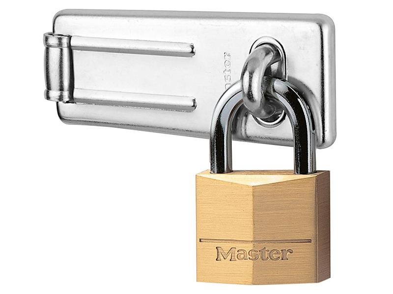 Thumbnail image of Master Lock Hasp 89mm + Solid Brass Padlock 40mm