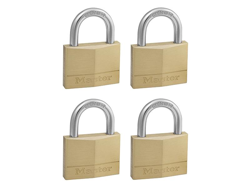 Thumbnail image of Master Lock Solid Brass 50mm Padlock 5-Pin - Keyed Alike x 4