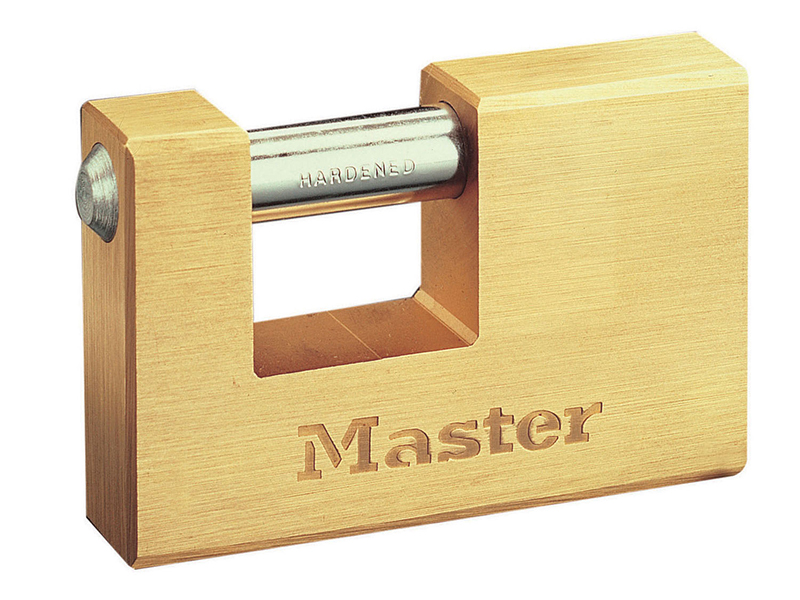 Thumbnail image of Master Lock Rectangular 85mm Solid Brass Body Shutter Padlock