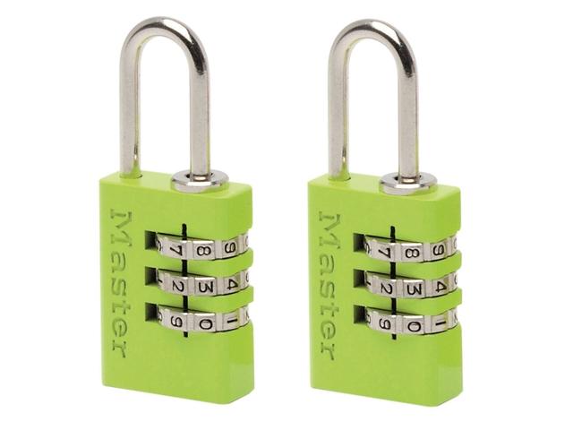 Thumbnail image of Master Lock Aluminium  3-Digit Combination 20mm Padlock Colour x 2