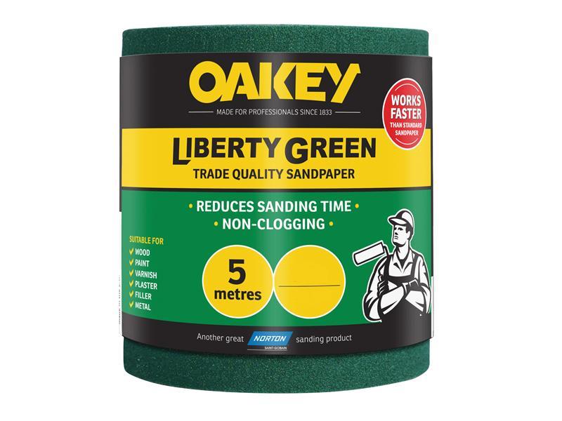 Thumbnail image of Oakey Liberty Green Sanding Roll 115mm x 5m Fine 120G