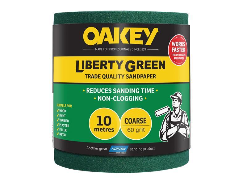 Thumbnail image of Oakey Liberty Green Sanding Roll 115mm x 10m Coarse 60G
