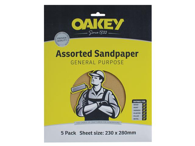 Thumbnail image of Oakey Glasspaper Sanding Sheets 230 x 280mm Assorted (5)