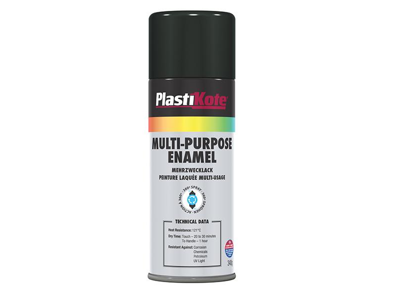 Thumbnail image of PlastiKote Multi Purpose Enamel Spray Paint Gloss Black 400ml