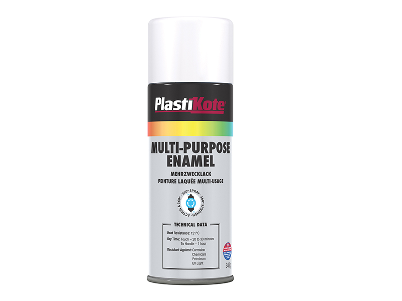 Thumbnail image of PlastiKote Multi Purpose Enamel Spray Paint Matt White 400ml