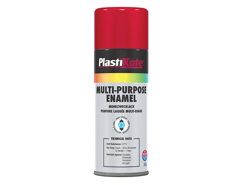 Thumbnail image of PlastiKote Multi Purpose Enamel Spray Paint Gloss Red 400ml