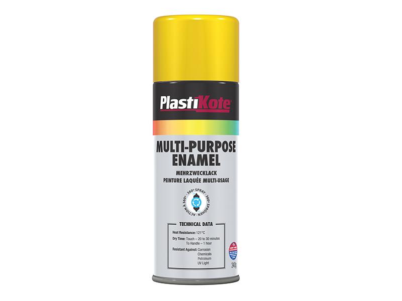 Thumbnail image of PlastiKote Multi Purpose Enamel Spray Paint Gloss Yellow 400ml