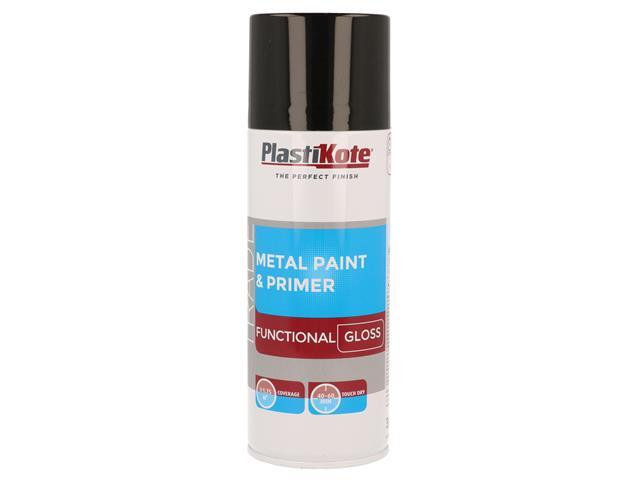 Thumbnail image of PlastiKote Trade Metal Spray Paint & Primer Gloss Black 400ml