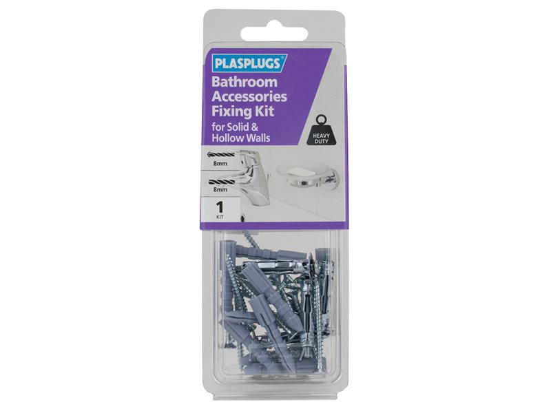 Thumbnail image of Plasplugs Bathroom Accessories Fixing Kit for Solid & Hollow Walls