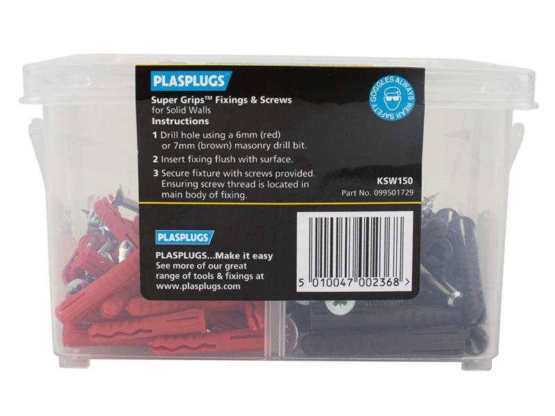 Thumbnail image of Plasplugs Super Grips™ Fixings & Screws Kit for Solid Walls, 150 Piece