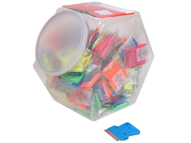 Thumbnail image of Personna Neon Plastic Mini Scraper Jar of 100 Single Blades
