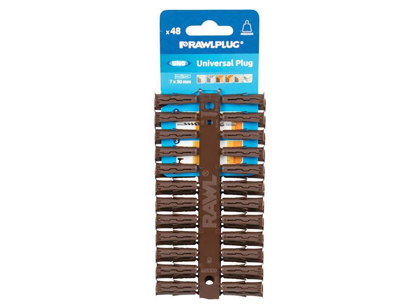 Thumbnail image of Rawlplug Brown UNO® Plugs 7 x 30mm (Card 96)
