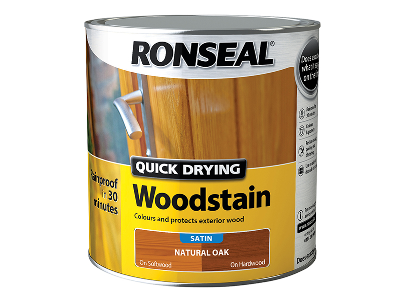 Thumbnail image of Ronseal Quick Drying Woodstain Satin Natural Oak 2.5 litre
