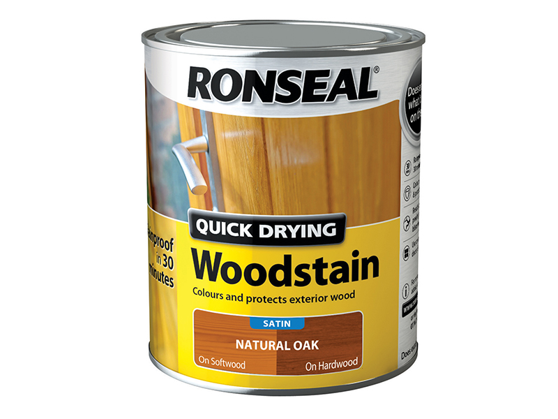 Thumbnail image of Ronseal Quick Drying Woodstain Satin Natural Oak 750ml