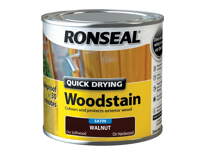 Thumbnail image of Ronseal Quick Drying Woodstain Satin Smoked Walnut 250ml