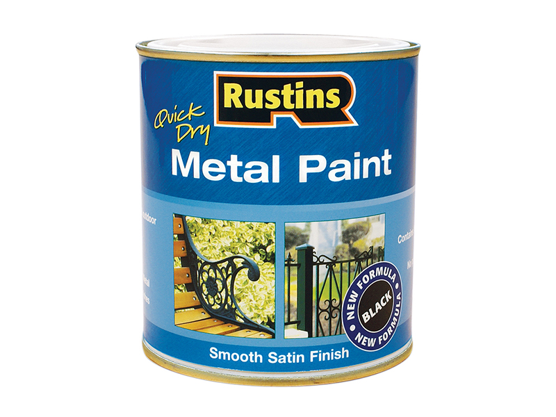 Thumbnail image of Rustins Quick Dry Metal Paint Smooth Satin Black 250ml