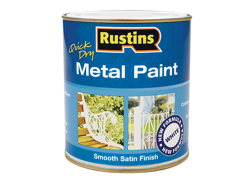 Thumbnail image of Rustins Quick Drying Metal Paint Smooth Satin White 250ml