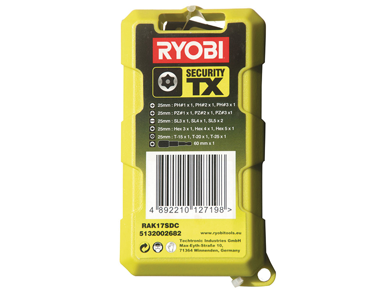 Thumbnail image of Ryobi RAK 17SDC Security Screwdriver Bit Kit TORX Set, 17 Piece